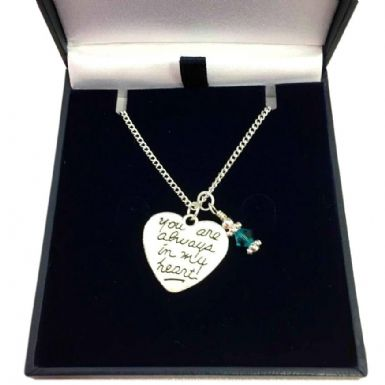 Memorial Necklace with Birthstone, Always in My Heart | Someone Remembered